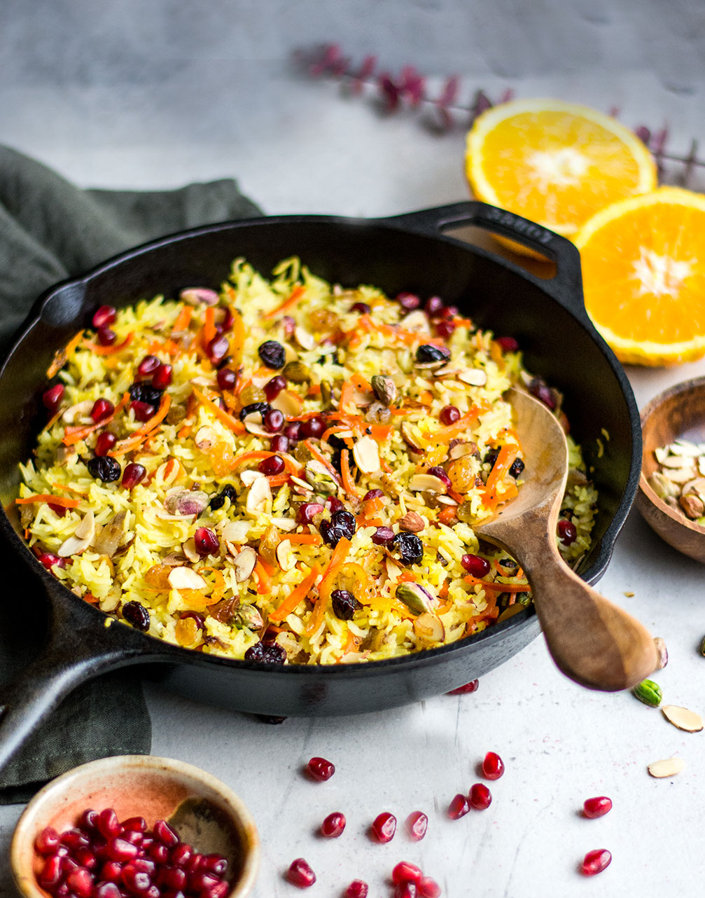 jewelled rice in cast iron pot