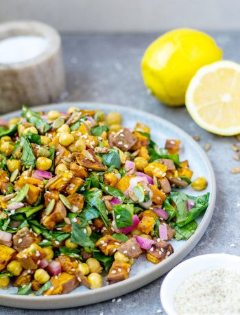 chickpea sweet potato salad and lemons
