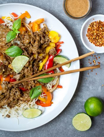 pork stir fry with almond sauce and lime