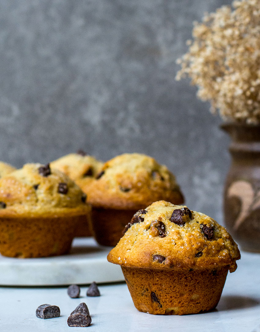 chocolate chip muffins on table