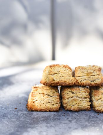 side of flakey ginger scones with layers