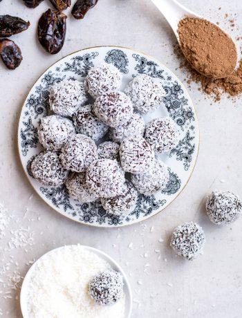 top view of chocolate coconut energy bites