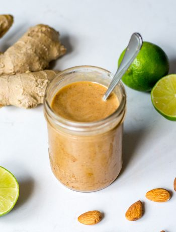 almond stir fry sauce with lime and ginger top view