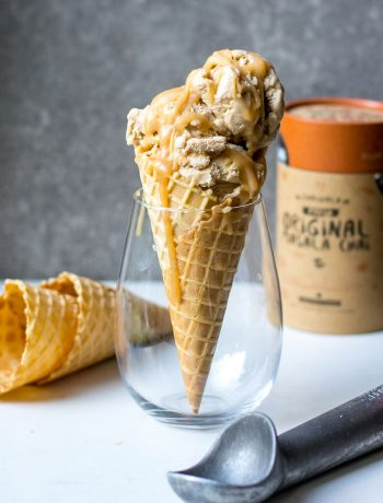 chai tea ice cream in glass with chai in background